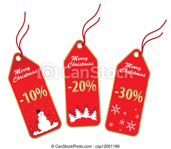 red christmas labels - csp12051199