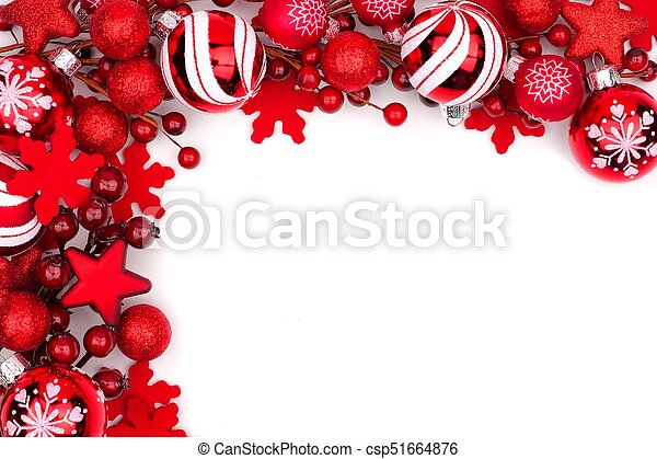 White Christmas Background.Red Christmas Ornament Corner Border Isolated On White
