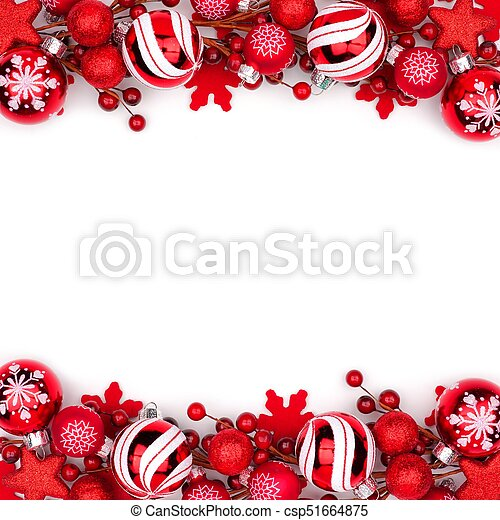Red Christmas Ornament Double Border Isolated On White