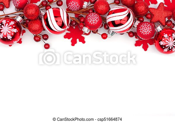 Red Christmas Ornament Top Border Isolated On White