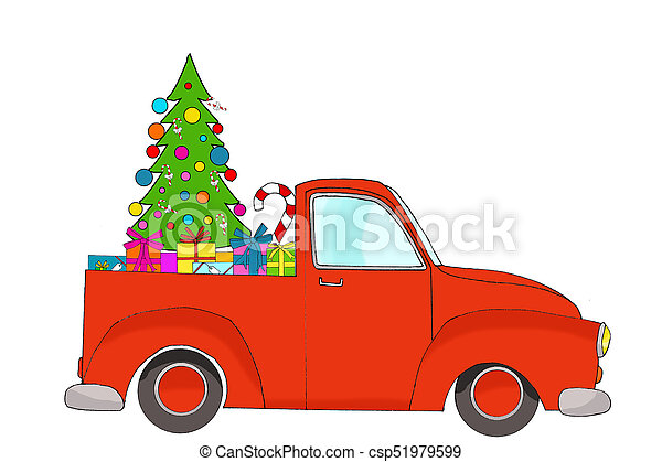 Red Christmas Truck.Red Christmas Pick Up Truck With Gifts