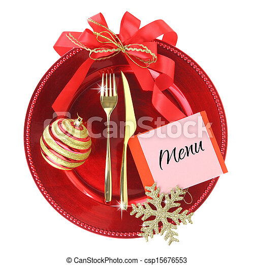 Red Christmas plate isolated on white background - csp15676553