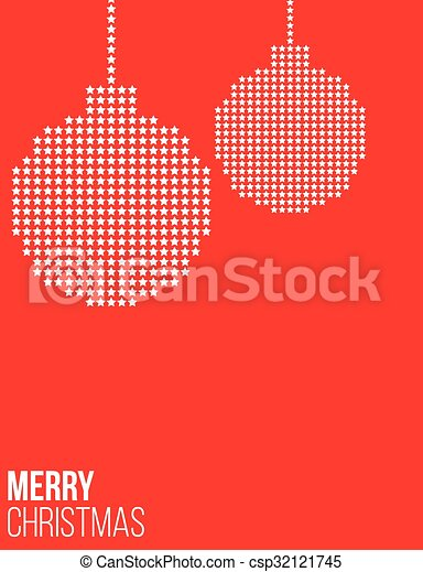 Red Christmas poster with balls - csp32121745
