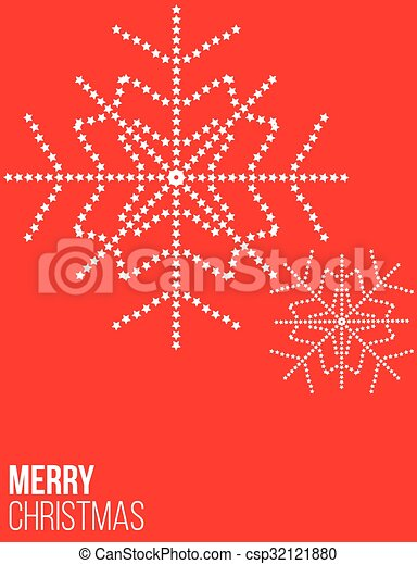 Red Christmas poster with snowflake - csp32121880