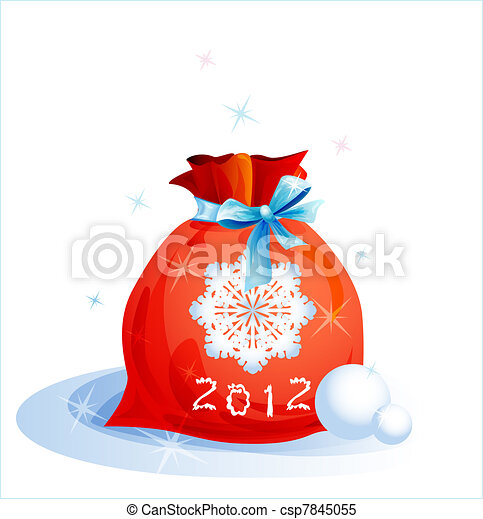 red Christmas sack with blue ribbon - csp7845055