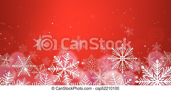 Red Christmas snowflakes background with light effect - csp52210100