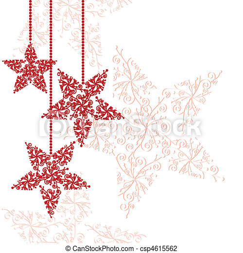 Red Christmas star ornaments - csp4615562