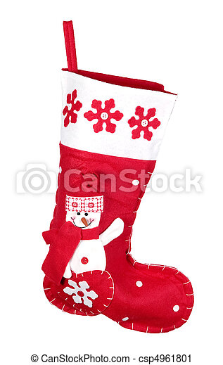Red christmas stocking for presents - csp4961801