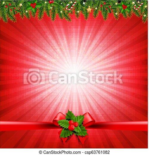 Red Christmas Sunburst Poster - csp63761082