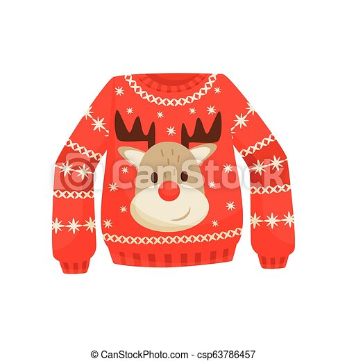 Christmas Sweaters Cute.Red Christmas Sweater Knitted Warm Jumper With Cute Reindeer Vector Illustration On A White Background