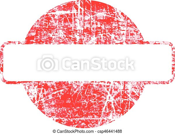 Red circle grunge rubber stamp template with copyspace rectangular.