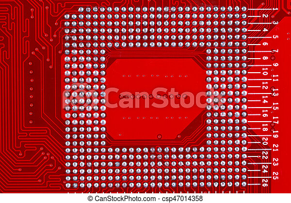 Red circuit board texture background of computer motherboard. Red ...