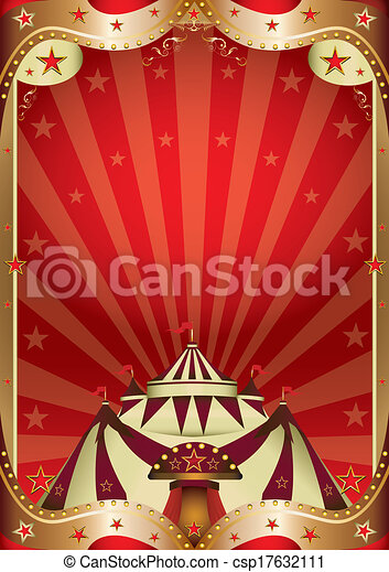 Red circus baroque frame. A red circus background with a big top.