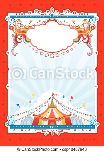 Red circus frame. Circus background for design of card, banner ...