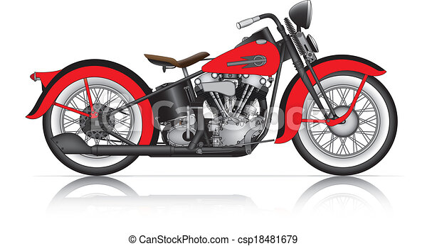 old motorcycle clipart  Red classic motorcycle. Red classic motorcycle.