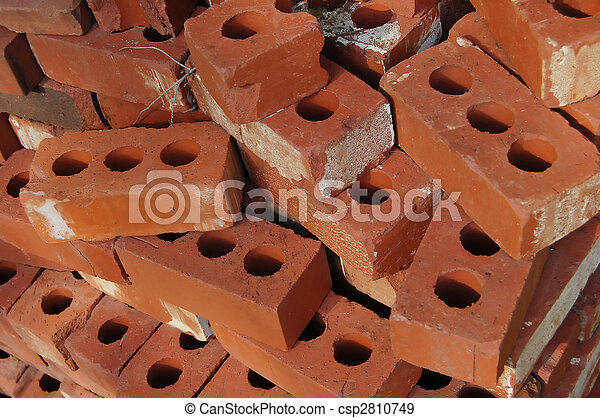 Red Clay Bricks With Holes Stock Photo