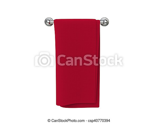 Red cloth on a cloth hanger - csp40770394