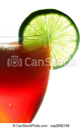 Red cocktail dressed with lime - csp2692189