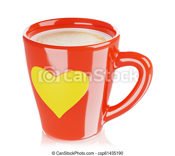 Red and White Coffee Mug Capppuccino with Fancy Handle in Heart Shape Tea Cup