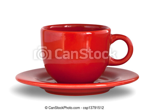 Red coffee cup with plate - csp13791512  sc 1 st  Can Stock Photo & Red coffee cup with plate. photo illustration.
