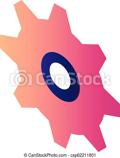 Red cogwheel icon, isometric style - csp62211801