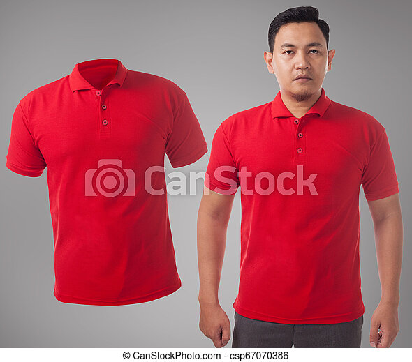 Red Collared Shirt Design Template Blank Collared Shirt Mock Up