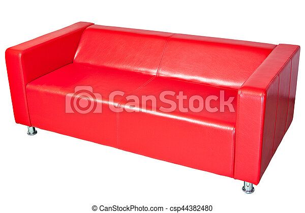 Red color imitation leather office couch, isolated on white.