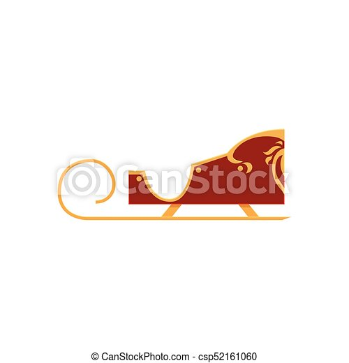 Red colored decorated Santa sleigh, Christmas icon - csp52161060