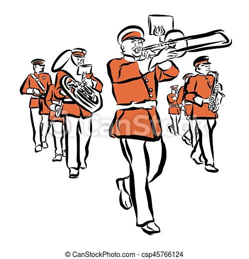 red colored marching band illustration hand drawn vector vector rh canstockphoto com marching band clipart black and white marching clipart