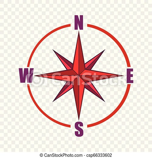Red compass rose icon, cartoon style - csp66333602