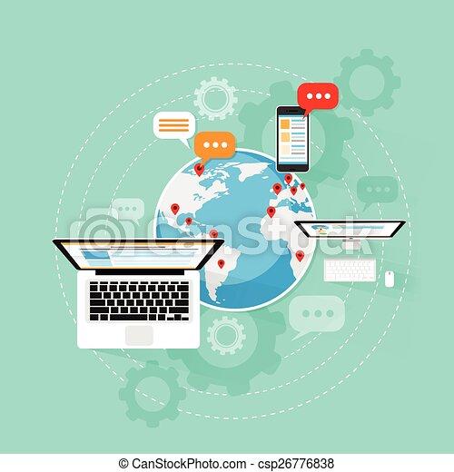 red, computador portatil, conexión, computadora, internet, dispositivo, nube - csp26776838