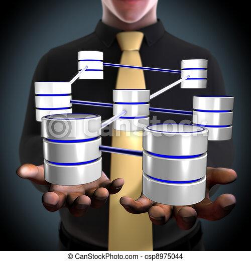 red, concepto, arquitecto, crear, base de datos - csp8975044