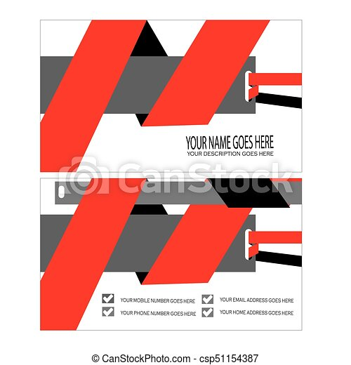 Red Cool Business Card Template Vector - Business card template eps