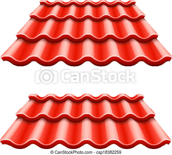 Red corrugated tile element of roof - csp18382259