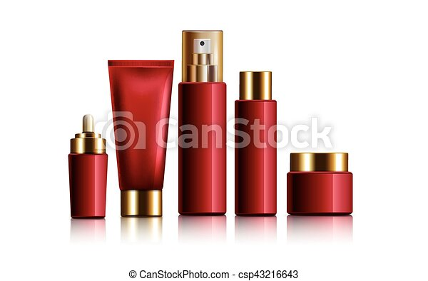 red cosmetic containers - csp43216643