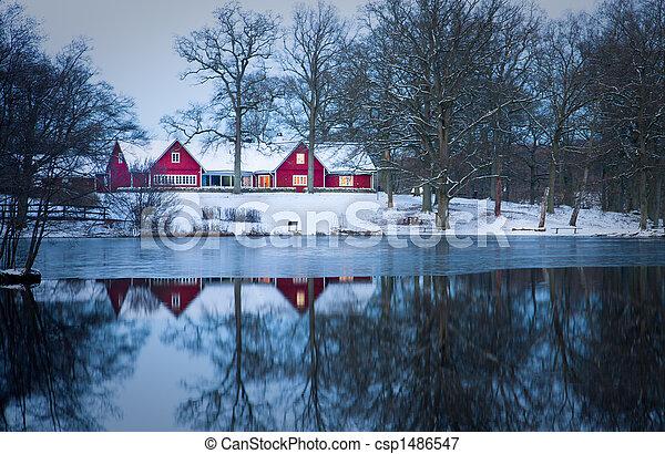 Red cottage - csp1486547