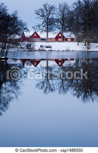 Red cottage - csp1486550