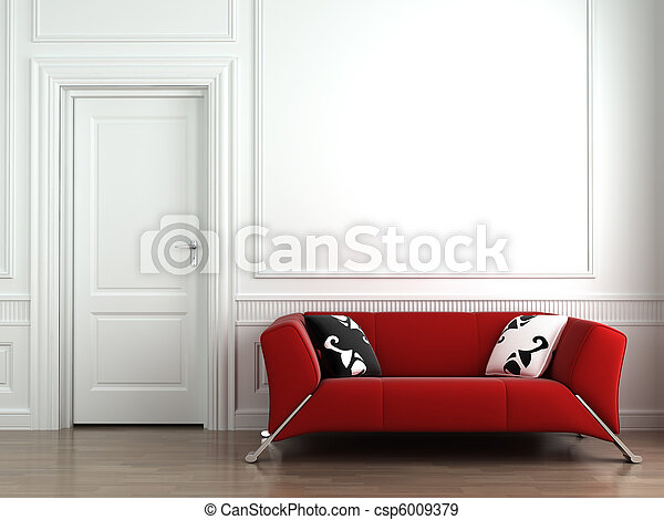 red couch on white interior wall - csp6009379
