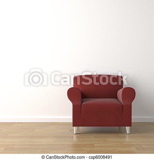 red couch on white wall - csp6008491
