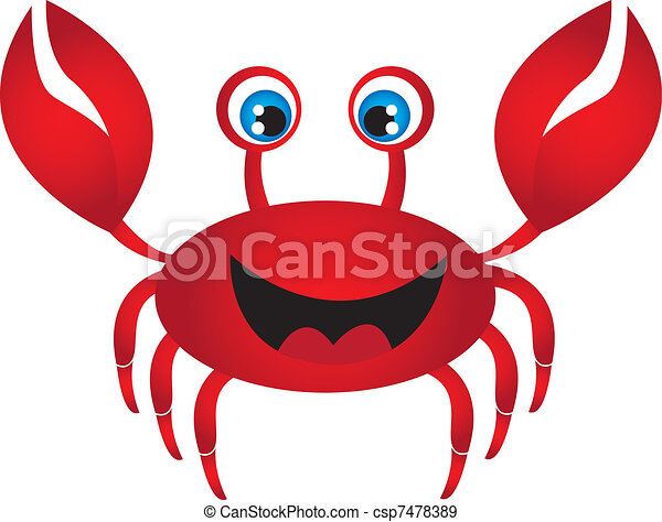 Red Crab Animal Cartoon Character Funny Red Crab Cartoon