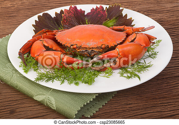 Red crab on a plate - csp23085665