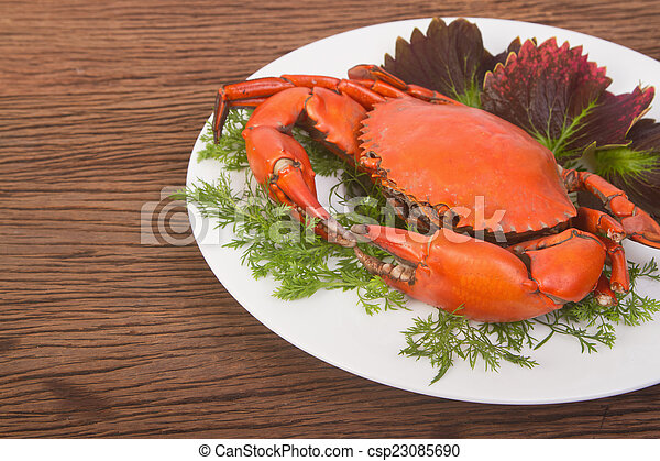 Red crab on a plate - csp23085690