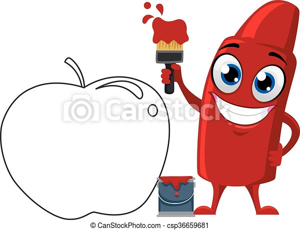 red crayon mascot paint apple vector illustration of red vector rh canstockphoto com red crayon clipart black and white color red crayon clipart