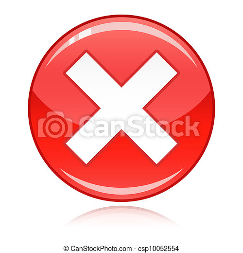 Red cross button - refuse, wrong an - csp10052554