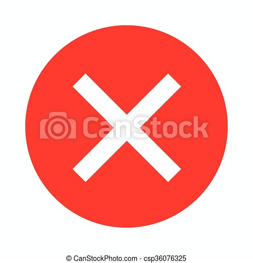 Red cross, check mark icon, simple style  - csp36076325
