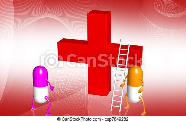 Red Cross Symbol Digital Illustration Of A Red Cross Symbol In