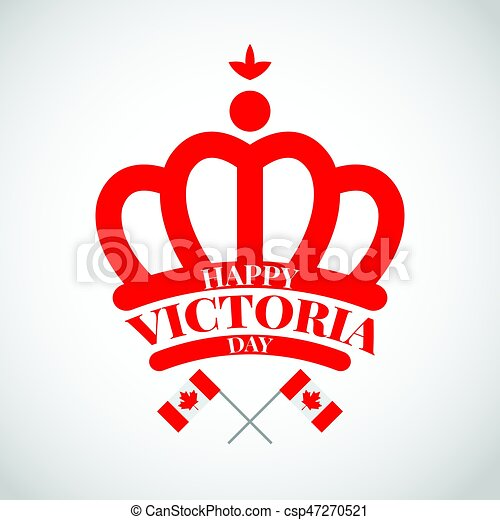 Red Crown With Flag Canada For Victoria Day Red Crown With Flag
