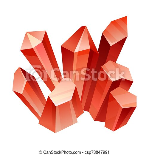 Red crystals. Vector illustration on a white background. - csp73847991