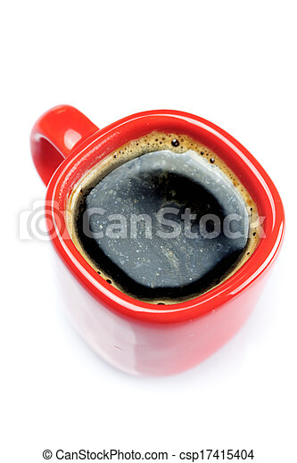 red cup of coffee isolated on white - csp17415404
