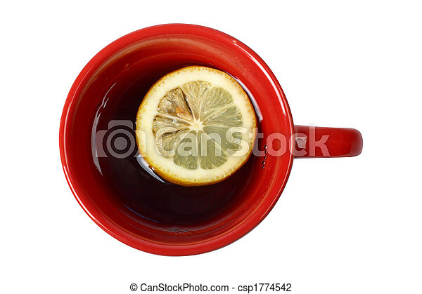 Red cup of tea with lemon - csp1774542